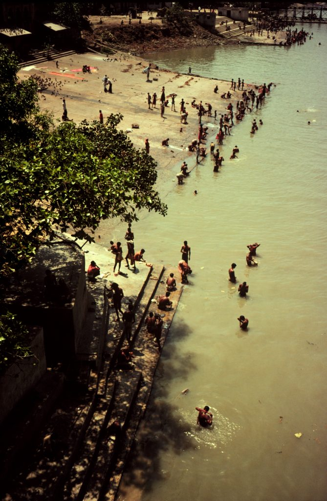 Bathers in the Hooghly River, viewed from Howrah Bridge, Kolkata (Calcutta), India 1978 - Tim Trompeter