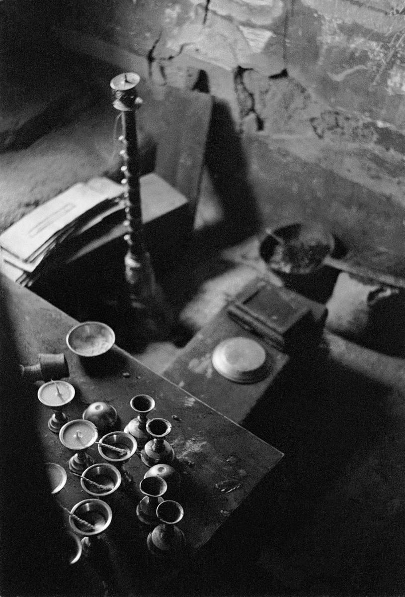 Prayer cards, incense and butter lamps, Karsha Gompa, Zanskar, Ladakh 1978 - Tim Trompeter