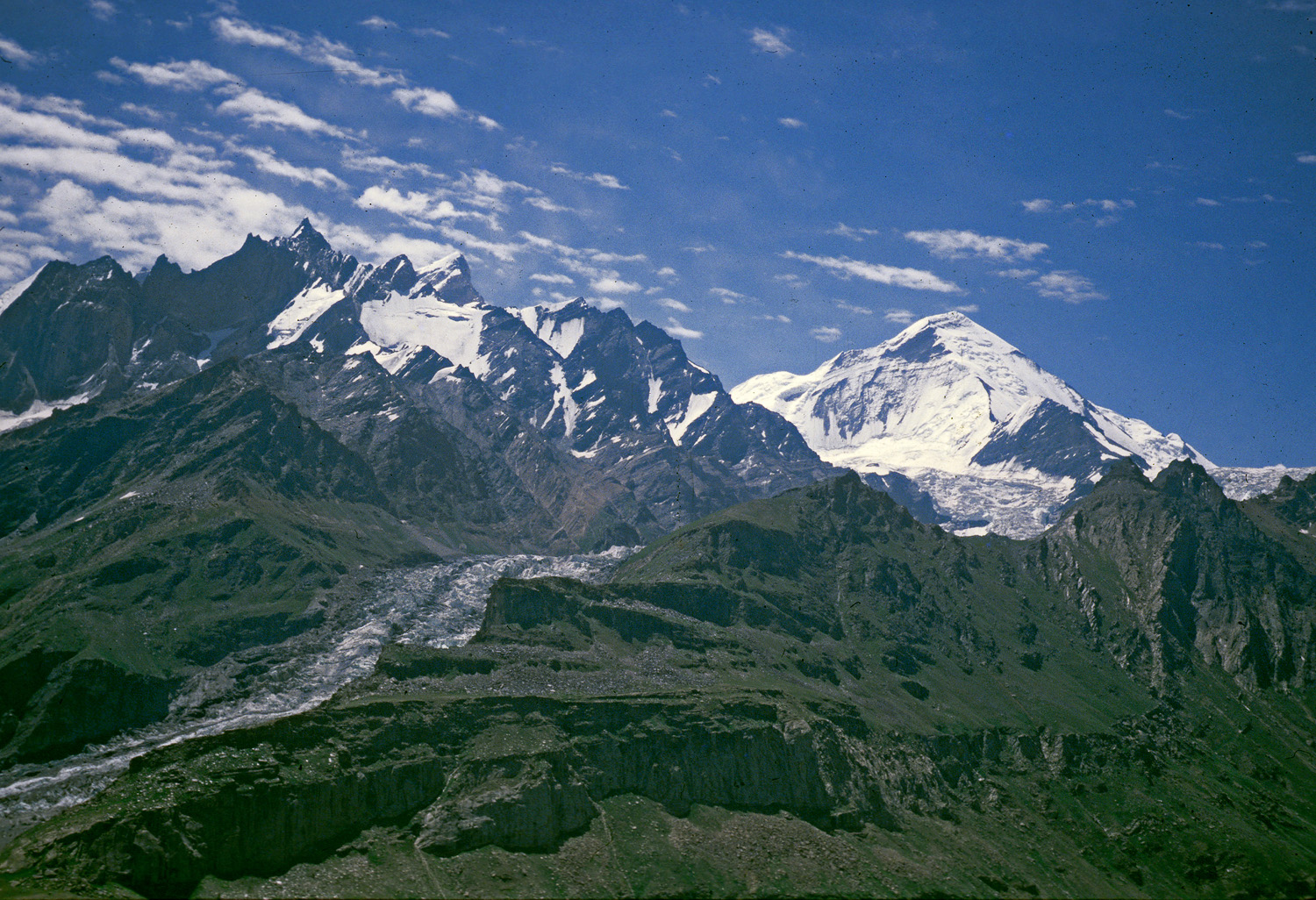 "The massif of Nun Kun, seen from the ""saddle"" at the head of the Suru Valley, Jammu and Kashmir 1978 - Tim Trompeter"
