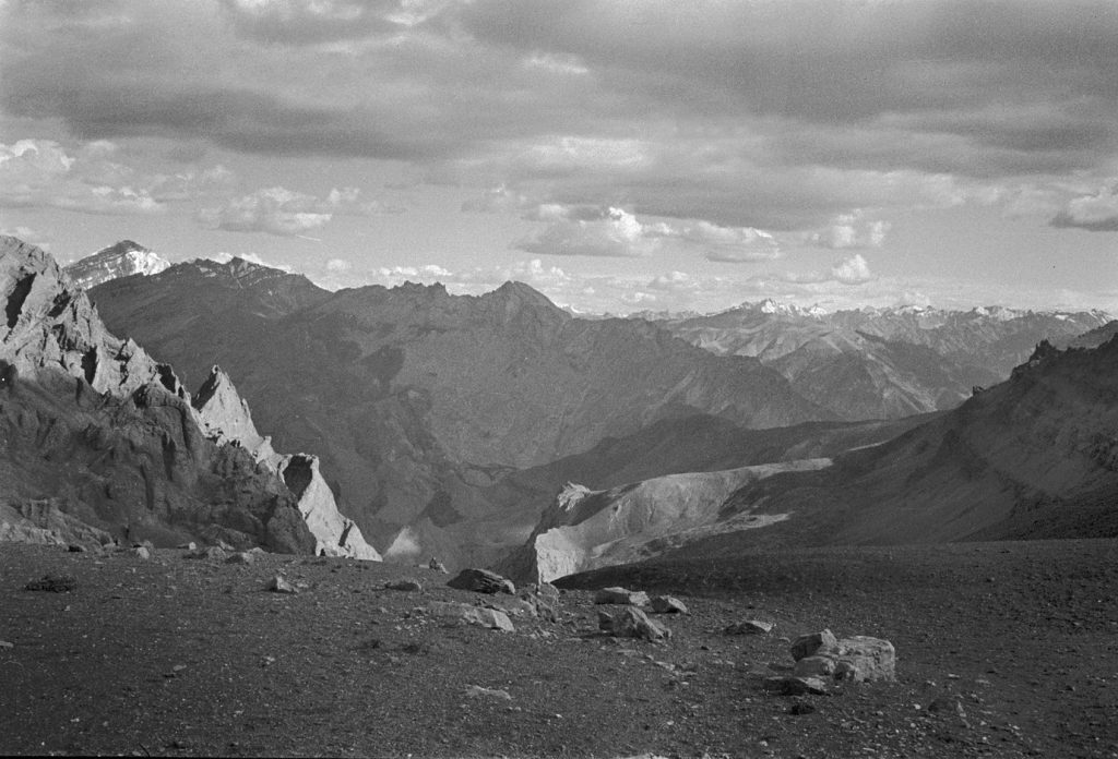 View from SirSirLa pass, looking toward Photoksar and Lingshed, Ladakh 1978 - Tim Trompeter